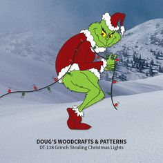 DT-138 - Grinch Stealing Christmas Lights Pattern