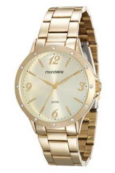 83315LPMVDE2 Relógio Feminino Mondaine Analógico Dourado   Guest Club