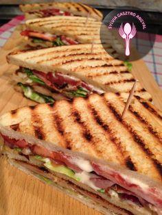 Club szendvics | | Sylvia Gasztro Angyal Bacon, Sandwiches, Food, Essen, Meals, Paninis, Yemek, Pork Belly, Eten
