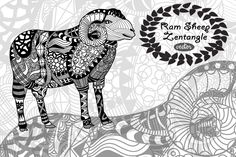 Ram Sheep Zentangle by LidiaP on Creative Market