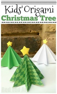 Easy Origami Christmas Tree DIY Red Ted Art Origami Christmas Tree here is a simple Paper Tree that will add to your Christmas Decor! Made from green or white paper these trees are super cute. Get the kids to decorate them too! Christmas Origami, Christmas Crafts For Kids, Christmas Activities, Simple Christmas, Christmas Projects, Kids Christmas, Holiday Crafts, Diy Paper Christmas Tree, Paper Christmas Decorations
