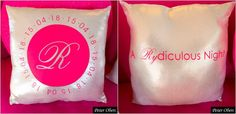 "Hot Pink & Silver Bat Mitzvah Pillows with Logo & Tagline ""A Rydiculous Night"" {Party Planner: The Event of a Lifetime, Peter Oberc Photography} - mazelmoments.com"
