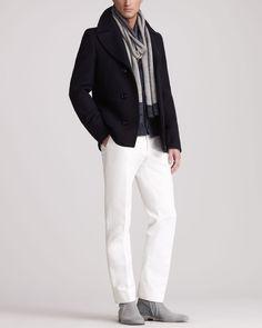 Pea Coat, Cardigan, Scarf & Trousers - Neiman Marcus