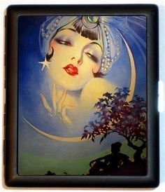 Moon Girl Gypsy Flapper Pin up Pinup Jazz Age Roaring 20s Cigarette ID Case Business Card Holder Wallet