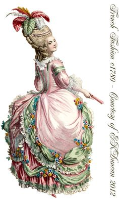 "1780 Ladies Fashion ""Robe a la Cirassienne"" which is a version of the ""Robe à la Polonaise"" PNG in various color combinations by EKDuncan - http://www.ekduncan.com/2012/04/1780-ladies-fashion-plate-with-two.html#"
