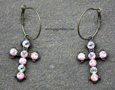 Save 10%  by using GUGREPBRITT at checkout!  www.gugonline.com AB Crystals on Small Bronze Cross Hoop Earrings