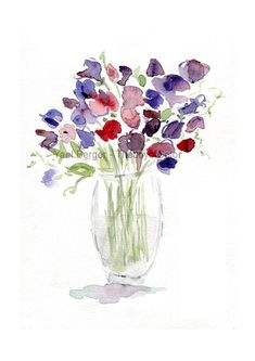 Sweet pea Bouquet sweet pea art print watercolor print