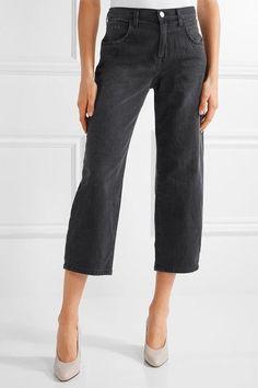 Current/Elliott - The Barrel Crop High-rise Wide-leg Jeans - Black - 30