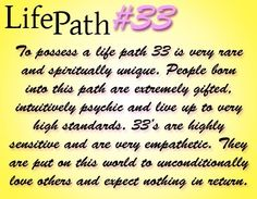 Numerology Life Path Master Number 33, 3 + 3 =6