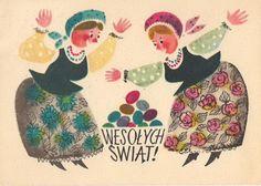 Polish Easter cards via Garaż ilustracji książkowych blog. Vintage Greeting Cards, Vintage Postcards, Easter In Poland, Polish Easter, Polish Folk Art, Art Costume, Costumes, Easter Wishes, Easter Art