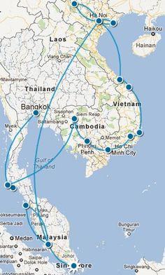 SE Asia Trip Map
