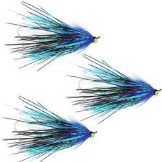 Aqua Flies - Stu\'s Mini Intruder Steelhead Shank Fly Fishing Fly - Blue Purple - Set of 3 Flies
