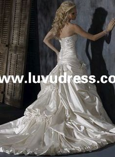 ZWD-142 real sample a line strapless lace beaded court train 2014 Wedding Dress