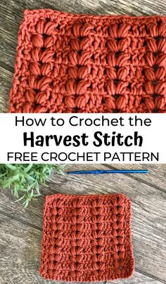 How to Crochet the Harvest Stitch - - All of the stitches this month feature the Puff Stitch. Today we're going to learn how to crochet the Harvest Stitch, an easy crochet puff stitch! Crochet Stitches Free, Crochet Basics, Different Crochet Stitches, Crochet Stitches For Blankets, Crocheted Blankets, Cross Stitches, Stitch Patterns, Knitting Patterns, Crochet Patterns