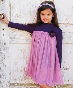 Look at this #zulilyfind! Purple & Pink Floral Overlay Dress - Toddler & Girls #zulilyfinds