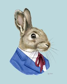 Conejo de impresión - impresión de animales - kid moderno arte - animales del bosque vivero - vivero moderno - ropa - Pascua decoración - Ryan Berkley 8 x 10
