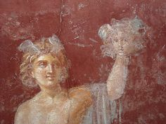 """""""Perseus holding the a gladius and lifting the head of Medusa"""" (Detail) - Plan: number 30 - The villa of San Marco at Stabiae (=Castellammare di Stabia/Naples) - beginning augustan age/claudian age - buried by Vesuvian eruption 79 AD Roman Sculpture, Medusa Head, Ancient Romans, Bury, Naples, Lions, Mythology, Fairy Tales, Villa"""