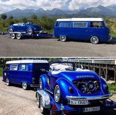 VW Van, Custom Matching Trailer with Convertible Beetle Volkswagen Beetle, Bus Camper, Volkswagen Bus, Vw Classic, Best Classic Cars, Kombi Trailer, Combi Split, Combi Wv, Busse