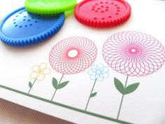 Note Cards Spirograph Flowers Set of 10 van MimosaCards op Etsy