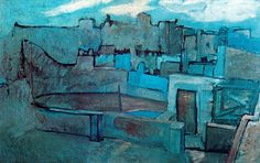 """ithappenedinbarcelona: """"The roofs of Barcelona (Les toits de Barcelone) by Pablo Picasso. Pablo Picasso was born in Malaga in the south of Spain on October In 1885 the Ruiz Picasso. Kunst Picasso, Art Picasso, Picasso Blue, Picasso Paintings, Abstract Paintings, Oil Paintings, Painting Art, Landscape Paintings, Landscapes"""