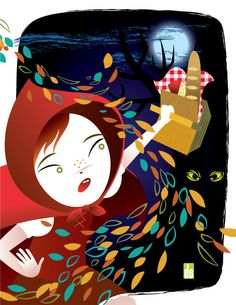 Tribute to Mary Blair by Dan Sipple. Love the movement of the leaves Charles Perrault, Mary Blair, Red Hood, Red Riding Hood, Little Red, Graphic Illustration, Illustrators, Fairy Tales, Poster Prints