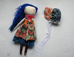"funky prairie girl lu - 14""ish handmade cloth doll girl with bright blue scrappy woolen hair"
