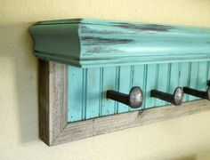 Distressed Coat Rack With Shelf , And Mirror - Rustic Entryway - 2 Piece
