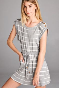 Heather grey and ivory stripe dress with drawstring tie and shoulder buttons. $29 shipped, S-M-L Purchase here: https://www.facebook.com/photo.php?fbid=10155105788983686&set=pcb.1397203753672230&type=3&theater
