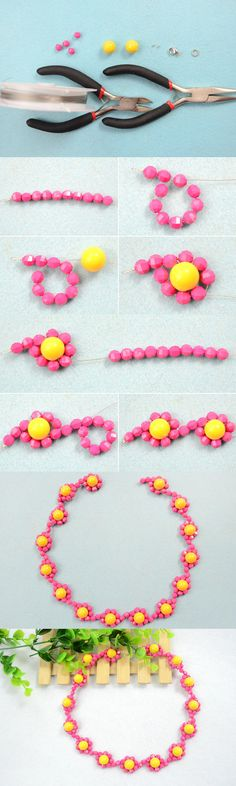 Tutorial on How to Make Candy Color Beaded Flower Necklace with Yellow and Hot Pink Acrylic Beads from LC.Pandahall.com #pandahall