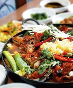 Korean food: Soup, Stew and Casserole Korean soups, also called tang, are made by cooking various ingredients in a pot. Jjigae and jeongol are similar to soup but jjigae is slightly less watery, and jeongol is a meat and vegetable casserole cooked on the table. [PHOTO]