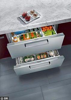 Un frigo intégrable à double tiroir ! - Meubles de cuisine : les nouveaux tiroirs ont la cote - CôtéMaison.fr