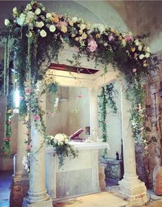 Flowers arch Church ceremony