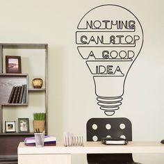Good Idea Bulb Words Motivation Quote Wall Decal Decor Art Sticker Vinyl