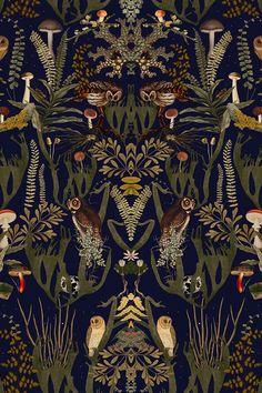 Swedish Forest Wonderful dark forest-themed pattern with mushroom, ferns and owls.Wonderful dark forest-themed pattern with mushroom, ferns and owls.