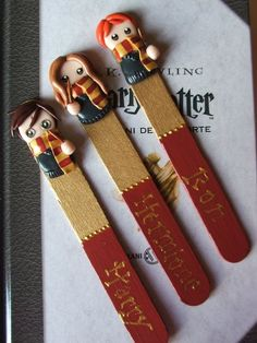 If you are crafty, why not make up a set of character bookmarks out of polymer clay like these? Creative bookmark ideas for writers and authors at KateLarking.com
