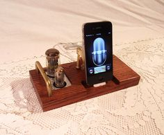 iPhone Dock - iPod Dock - Charger and Sync Station -- Oak  -  Tube Model  steampunk. $85.00, via Etsy.