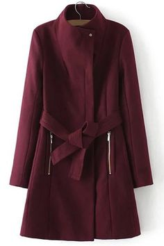 Elegant Women's Stand Collar Belted Long Sleeve Coat