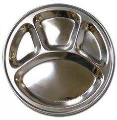 Amazon.com | Stainless Steel Round Divided Dinner Plate 4 sections: Aluminum Meal Tray: Dinner Plates
