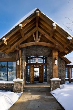 The Bear Trap is a custom timber frame home in Big Sky, MT. See photos of this nationally published cabin that received not one, but four editor's picks! Timber Frame Homes, Timber House, Timber Frames, Design Rustique, Rustic Home Design, Rustic Homes, A Frame Cabin, Log Cabin Homes, Log Cabins