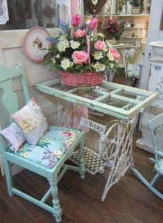 Shabby Chic Table Made from an Old Sewing Machine and an Old Window