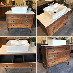 This is the latest vintage oak chest of drawers to be restored and repurposed as a washstand it looks stunning with the new quartz top and chrome sunbeam drawer pulls Dresser Vanity Bathroom, Vintage Bathroom Vanities, Bathroom Basin, Small Bathroom, Antique Vanity, Vintage Bathrooms, Bathroom Ideas, Bathroom Styling, Bathroom Interior Design