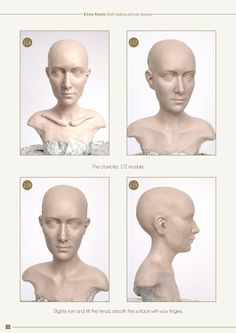340 photos and 4 videos demonstrate all the stages of sculpting. In this part I explain how to sculpt three different heads - a classical girl, an old characte