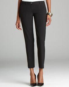The little black pant--michael Michael Kors' skinny style crafts a super-sleek silhouette, suited for the office and after hours. | Polyester/viscose/elastane | Dry clean | Imported | Fits true to siz