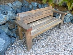Bench made of hundred+ year old Blue-Gum wood. Rustic finish, very comfortable and won't blow away!