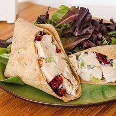 Sonoma Chicken Salad: Lighten up the standard mayo-laden chicken salad and try this lightened-up chicken salad wrap that uses plain yogurt and apple cider vinegar to tie everything together.