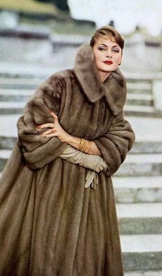 Ghislaine Arsac, mink by Maurice Kotler, photo Guy Arsac 1957