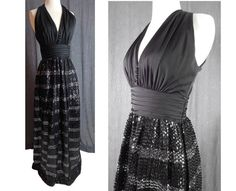 Black Sequin Goddess Gown with Halter Top by EndlessAlley Silver Sequin Skirt, Black Sequins, Vintage Evening Gowns, Vintage Outfits, Vintage Fashion, Museum Wedding, Budget Fashion, Gathered Skirt, Sheer Chiffon