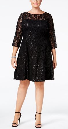 Plus Size Sequined Lace Fit & Flare Dress