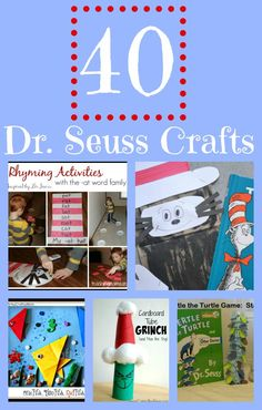 40 Fun Dr. Seuss Crafts including The Lorax, Cat in the Hat, + More!    The birthday of Dr. Seuss is coming up on March 2! I'm celebrating bybring