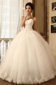 Strapless Heart-shaped Diamond Full Long Maxi Tube Top Bridal Gown ...